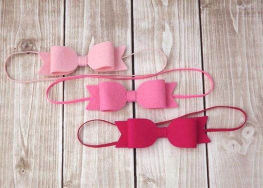 Wool Felt Bow Headband- Newborn Baby to Adult