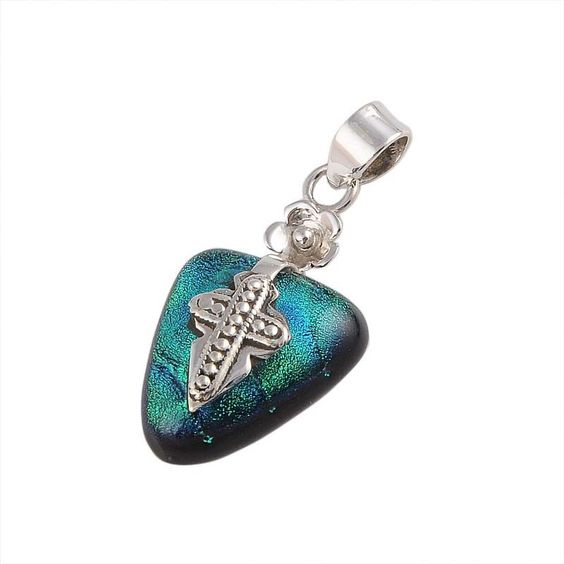 EXCLUSIVE 925 STERLING SILVER 6.56g DICHROIC GLASS PENDANT JEWELLERY DJP-0196 #Pendant