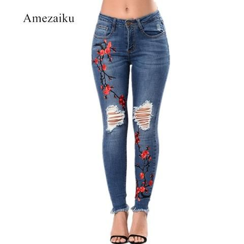 Jeans Embroidery Pantalones Vaqueros Mujer Jeans Pantalones De Mujer Denim Pencil Pants Female R High Waist Women Jeans Flannel Lined Jeans Womens Jeans Skinny