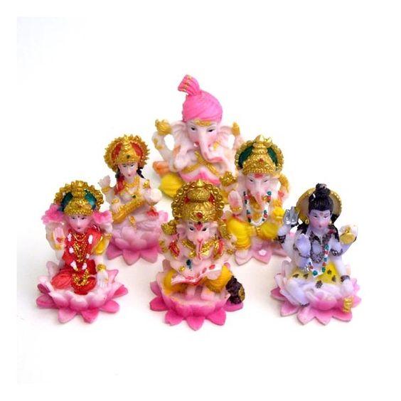 Hinduiska Statyer, Set Om 6 - Kitsch: