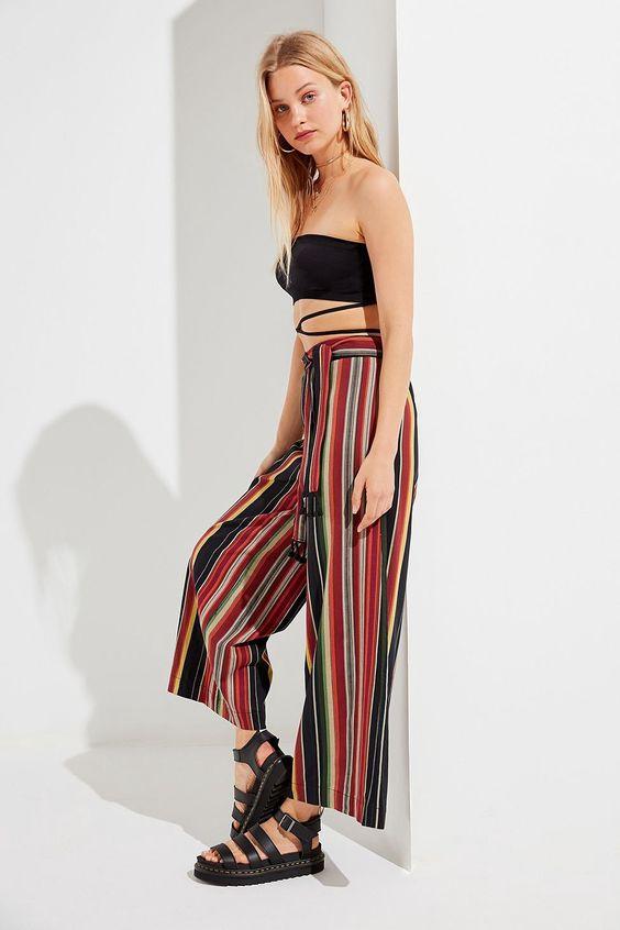 Urban Outfitters Uo Marie Tassel Tie Striped Pant - Black Multi