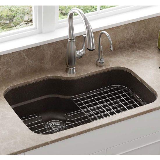 Orca Large Single Bowl Undermount Kitchen Sink Made Of Granite Sink Sink Accessories Undermount Kitchen Sinks