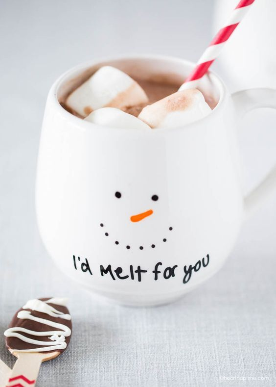 This snowman would melt for you... but it's ok he doesn't have to - paint your own DIY Christmas mug or give it as a gift