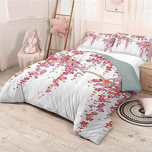 Helloleon House Decor Collection 3 Pack 1 Duvet Cover And 2 Pillowcases Cherry Blossom Trees Branch Springtime Happy In 2020 Decor Collection Home Decor Duvet Covers
