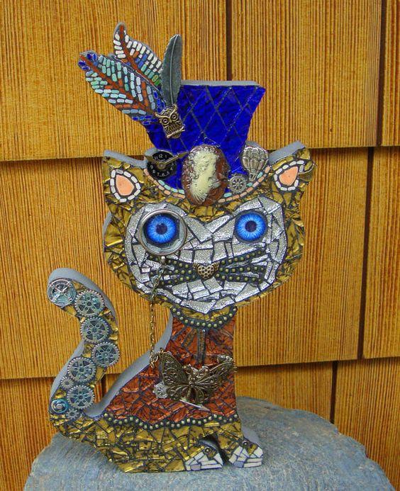 Steampunk Cat In a Blue top Hat Original Mosaic Art by zzbob