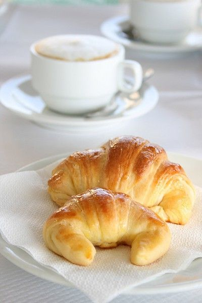 morning coffee and croissants.
