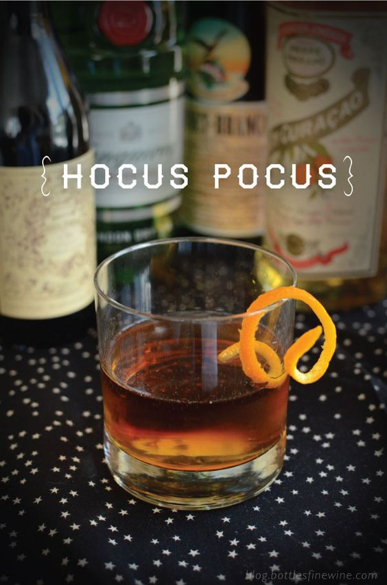 Hocus Pocus  Ingredients 2 oz London Dry Gin – Tanqueray 3/4 oz Carpano Antica Formula 3/4 oz Pierre Ferrand Orange Curacao liqueur 1/8 oz Fernet Branca Orange zest twist