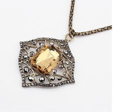 European Vintage Bronze Alloy Hollow Out Square Gem Pepndant Necklace
