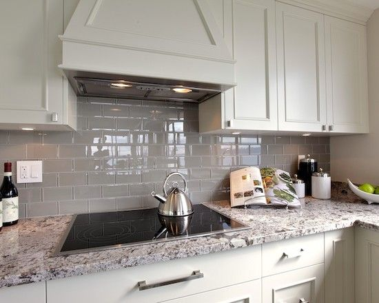 cool glazed glass subway tile contemporary kitchen with