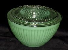 "Fire King *JADEITE JANE RAY/RIBBED *5 1/4"" REFRIGERATOR BOWL w/GLASS LID*"
