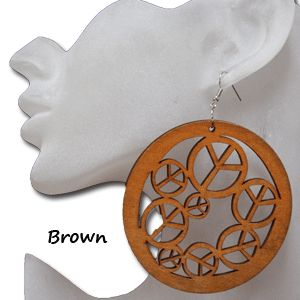 Cheap wholesale large peace sign earrings.  Do you love the peace sign? Well then you are going to love our earrings. They are amazingly lightweight and measure about 7 cm in diameter. They come in a natural wood color, Brown, Black or Chocolate. They are lightly treated wood to add just the right tone. These peace earrings are a steal at only $1.25 each pair.