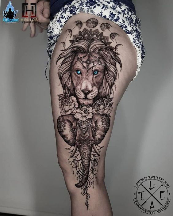 Lion and elephant thigh piece Insta: @leigh_tattoos Fb: leighstca For all bookin... - #bookin #Elephant #FB #insta #leighstca #leightattoos #lion #piece #thigh