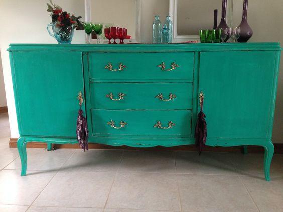 Adesivo Decorativo Portas De Vidro ~ MUEBLE FRANCES TURQUESA DECAPADO VINTOUCH muebles antiguos Pinterest