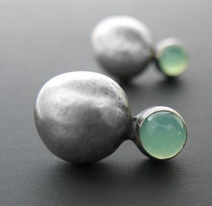 Chrysoprase and Silver Pebble Studs by ashleyjewelry on Etsy