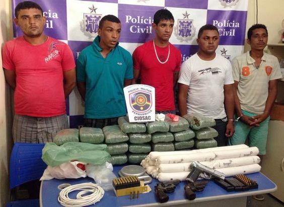 5 suspeitos de roubos e extermínios, que agia em PE e na BA foram presos (Foto: Divulgação)