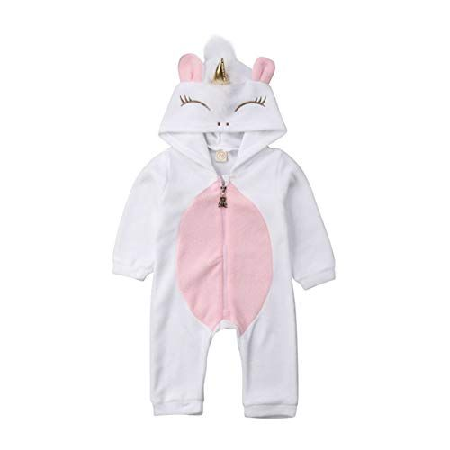 Baby Girls 3D Unicorn Angel Wings Hooded Zipper Romper Jumpsuit Halloween Outfits Clothes Pink White