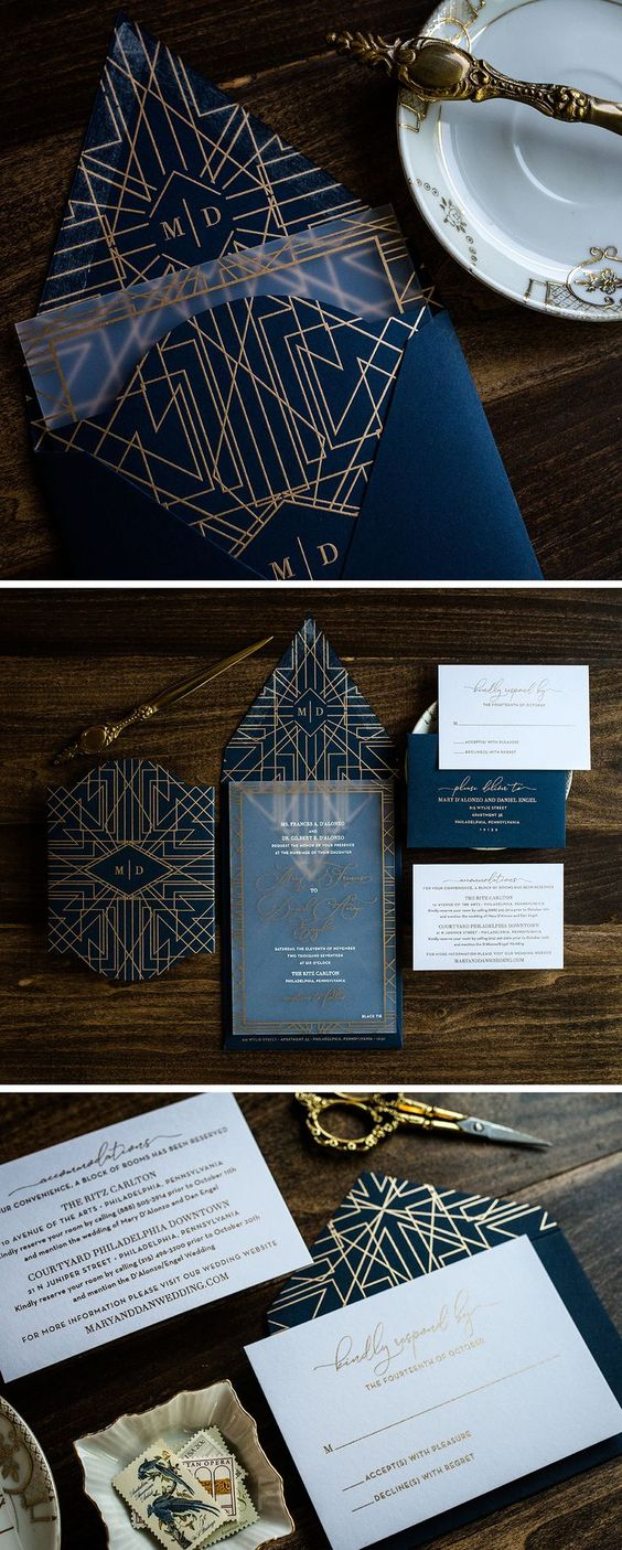 Unique Navy and Gold Art Deco Acrylic Wedding Invitation by Penn & Paperie. Geom... Trendy 2019 - Wedding Invitations Trends 2019 - Nail polish patterns that you can do with the nails arts friends look at the hands of ...