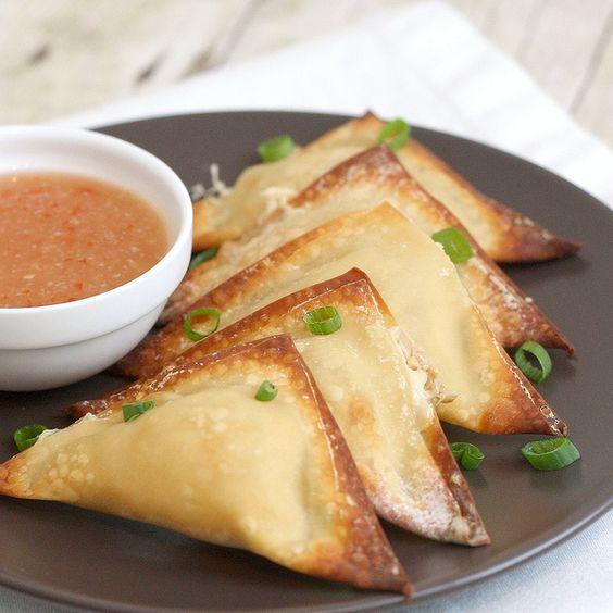 {baked crab rangoons and dipping sauce}