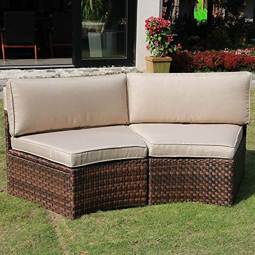 Check This Sunsitt Outdoor 2 Piece Half Moon Sectional Woven Sectiona Patio Furniture Patiofurniture In 2020 Beige Cushions Cushions Online Outdoor Sectional Sofa