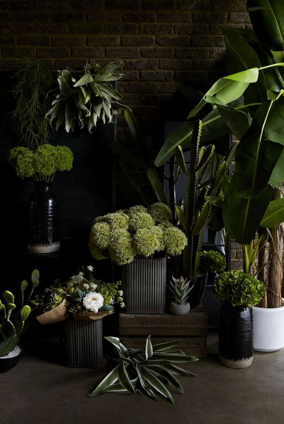 Faux plants in deep-green shades work perfectly with the rich purples, reds and metallics featured in this collection.