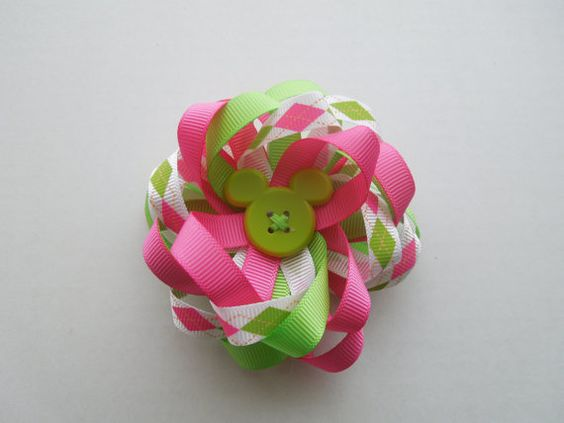 Disney Minnie Mouse Flower Hairbow Mickey by SewCuteBoutiqueBow, $6.00