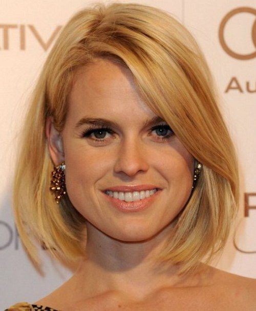 Medium Bob Hairstyles for Fine Hair 2014 with Little Layers on the Ends and Dramatic Side Swept Bangs