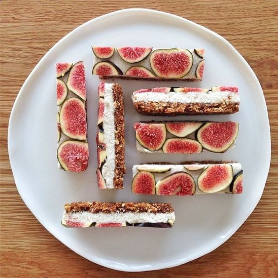 Raw vanilla coconut fig slice by Secret Squirrel. I wish I had the recipe for this! She also made another delicious cherry version here: http://instagram.com/p/nudjr_IGvw/