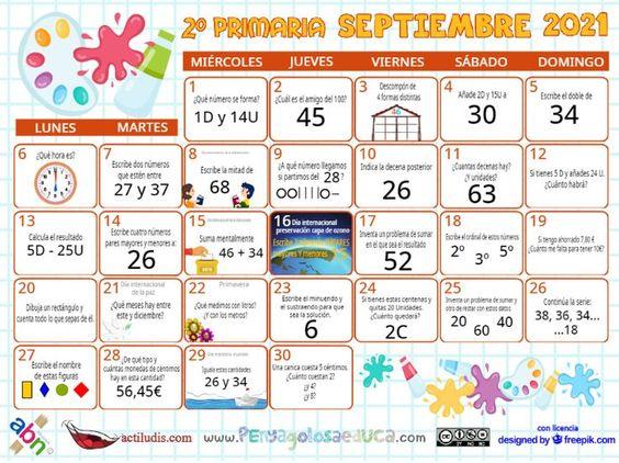 Calendario Segundo ABN – Septiembre 2021