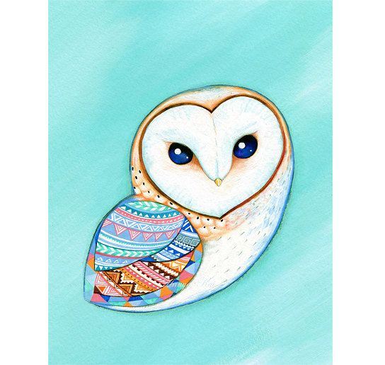 Mint Barn Owl - Painting by Annya Kai - Bird Art in Baby Blue Teal Turquoise with Tribal Pattern