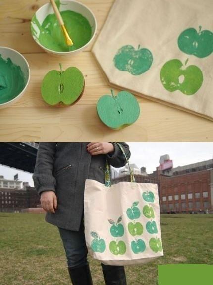 DIY: An apple-stamped tote: