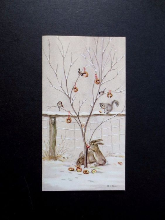 #K293- RARE Unused Tasha Tudor Xmas Greeting Card Winter Bunnies & Birds Eating