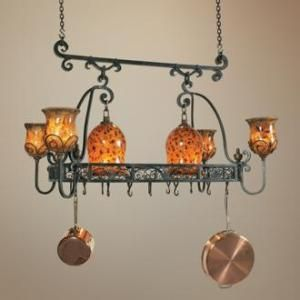 Kitchen Island Light Pot Racks...  I would love to fill this with gleaming copper!