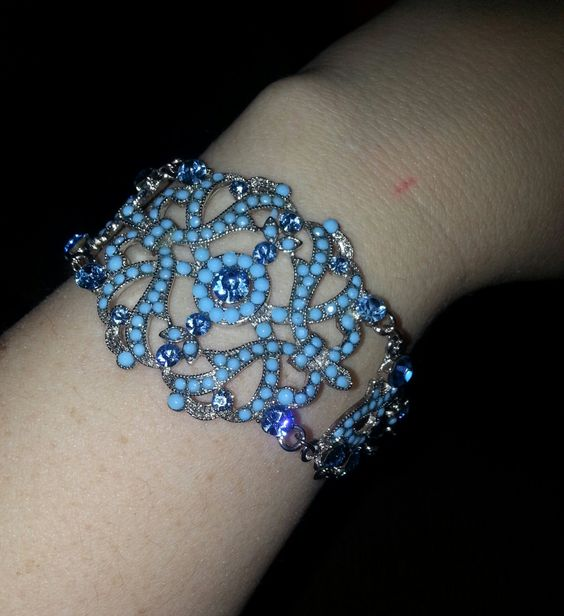 terquoise   bracelet with bling by ninasoriginals on Etsy