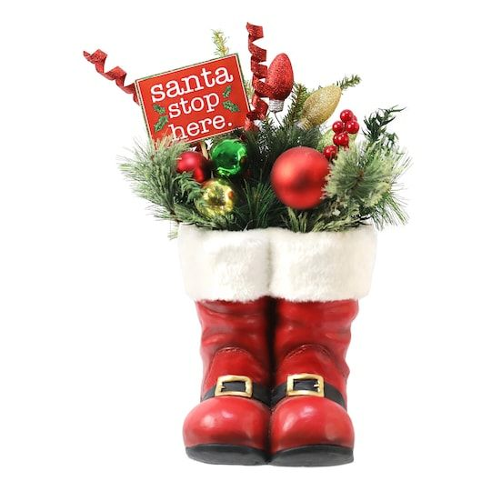 19 Pine Leaf Christmas Tabletop Arrangement In Santa Boots By Ashland In 2020 Christmas Tabletop Pine Leaf Christmas