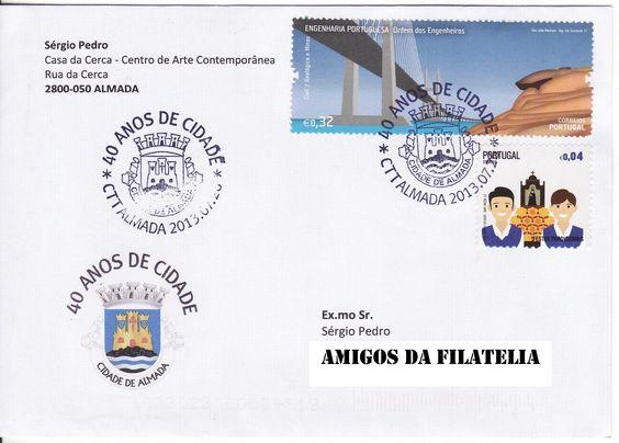 Sobrescrito circulado de Almada para Estoi com carimbo comemorativo alusivo aos 40 anos de Almada Cidade