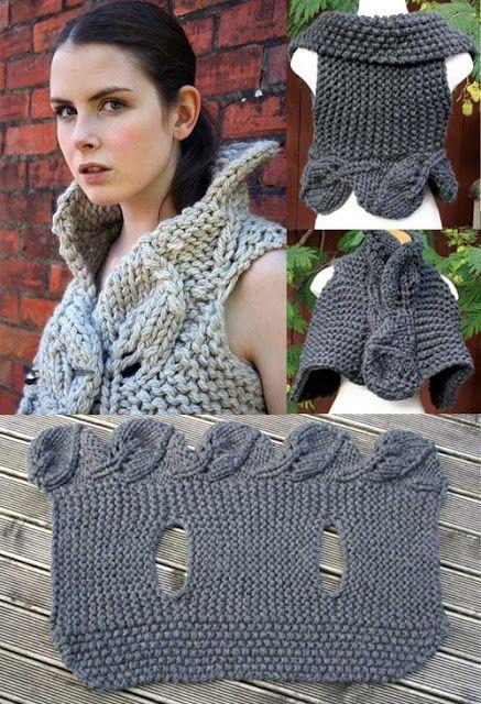 Rosa acessórios em tricô & crochê: Colete de tricot