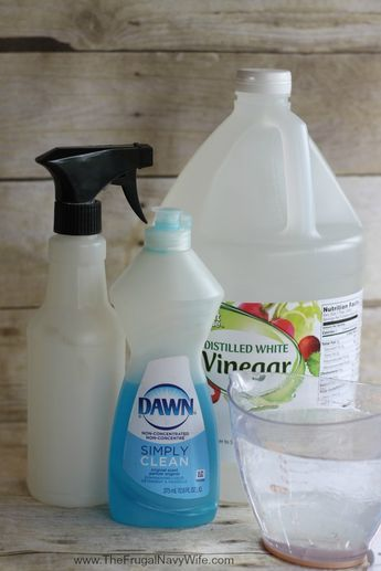 1 cup Water 1/4 cup White Vinegar 2 to 3 drops Dawn Dish Soap Empty Spray Bottle