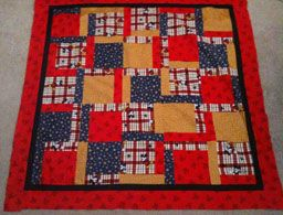 Incredibly easy quilt you can finish in one day.  http://pepperedhearth.com/2013/06/11/looking-for-a-quick-adorable-quilt-pattern-here-it-is-part-1-of-2/