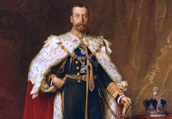 George V the second son of Edward VII. His mother was Alexandra of Denmark, sister of Empress Marie of Russia. He joined the Royal Navy aged 12 and served until 1892 when he became heir to the throne on the death of his brother Albert. In 1893, he married Princess Victoria Mary of Teck who had previously been engaged to his brother.  The marriage was a success and George unlike his father never took a mistress. They had 6 children Edward, Albert, Mary, Henry, George and John.
