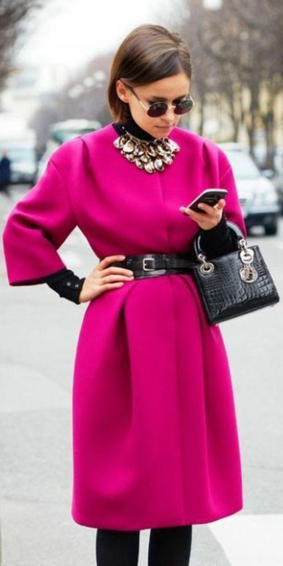 mode d'hiver tendances manteau rose
