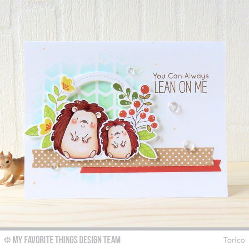 Handmade card from Torico featuring Chevron Grid stencil - MFT hedgehog stamps