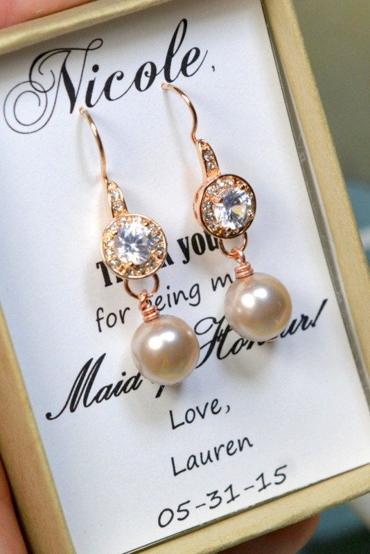 Champagne Wedding Jewelry Bridesmaid Gift Bridesmaid Jewelry Bridal White/ivory/cream blush pink rose gold Pearl Drop Earring Cubic Zirconia