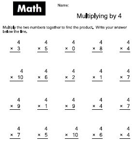 Multiply by 4 Worksheets   School   Pinterest   Worksheets