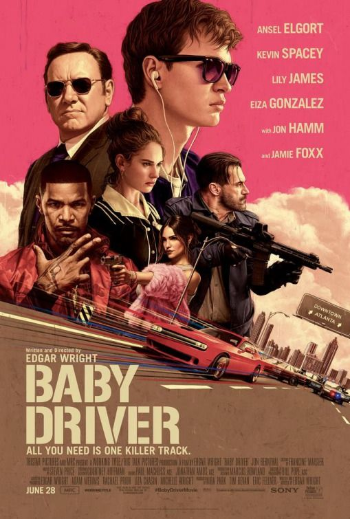 BABY DRIVER (June 2017) Directed by Edgar Wright. Starring Ansel Elgort, Kevin Spacey, Lily James, Eiza González.