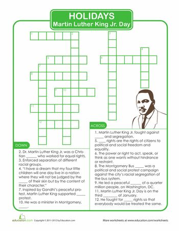 Martin Luther King Jr. Crossword Puzzle | Crossword, Martin luther ...