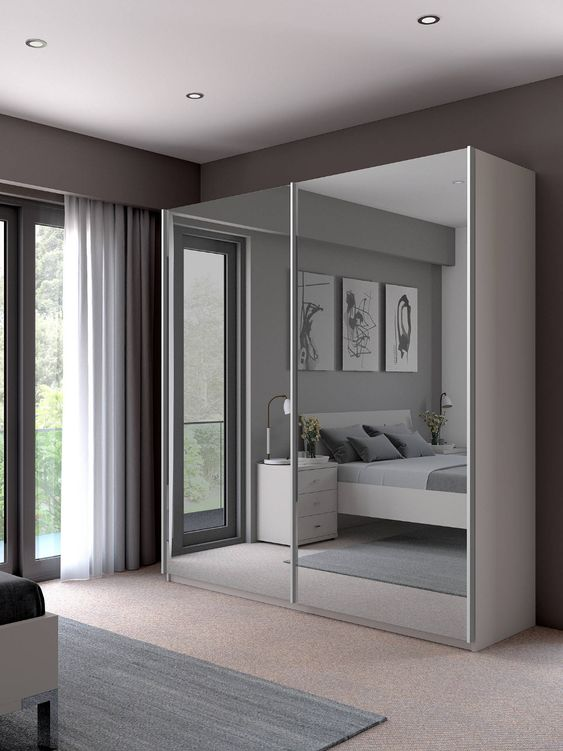 John Lewis & Partners Elstra 200cm Wardrobe with Mirrored Sliding Doors at John Lewis & Partners