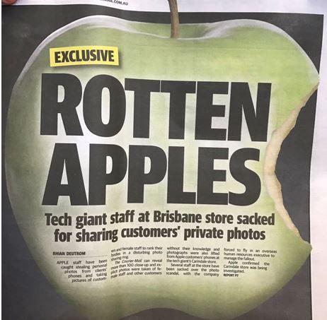 """WTF!?: Store Mitarbeiter stehlen, sharen & """"bewerten"""" Kundenfotos - https://apfeleimer.de/2016/10/wtf-store-mitarbeiter-stehlen-sharen-bewerten-kundenfotos - Der australische Courier Mail berichtet, dass Apple-Mitarbeiter in einem Store in Australien massiv gegen geltendes Recht und die Konzernvorgaben verstoßen hätten. Während einige Apple-Mitarbeiter damit beschäftigt sind, den Frust von Touch-Disease-Kunden aufzufangen, scheinen andere in dem Sto..."""
