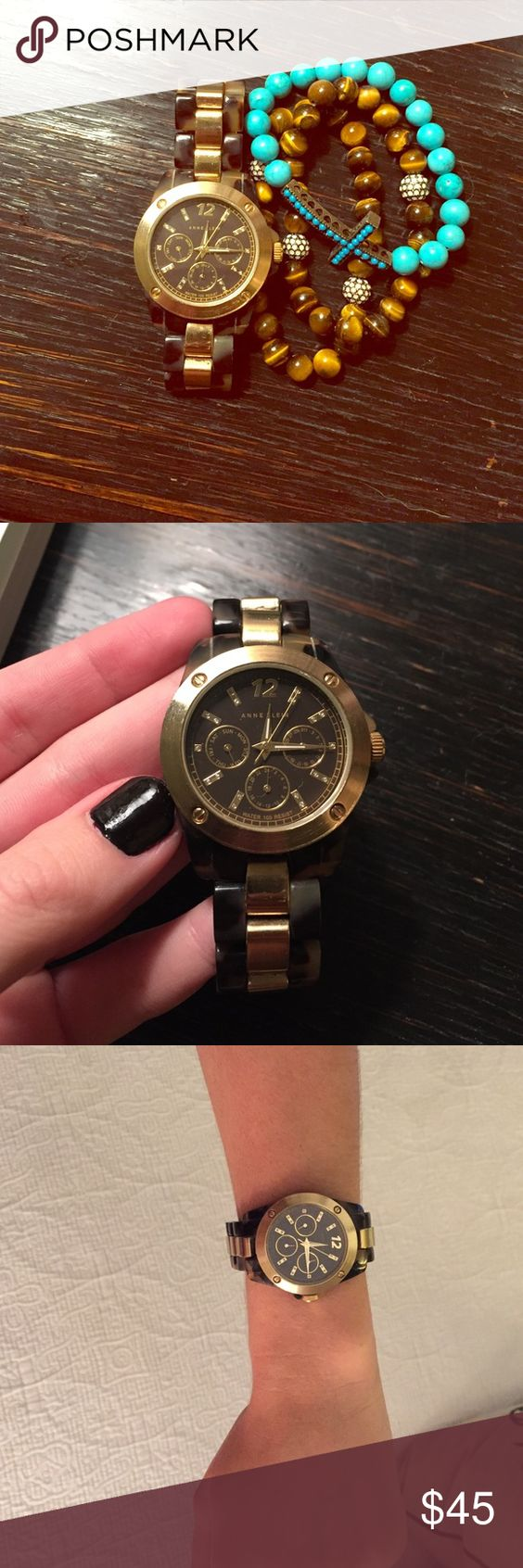 Anne Klein tortoise shell & gold watch This gorgeous Anne Klein watch is the perfect arm candy! Needs new battery, otherwise PERFECT condition. No scratches to the face or the links at all. Anne Klein Accessories Watches