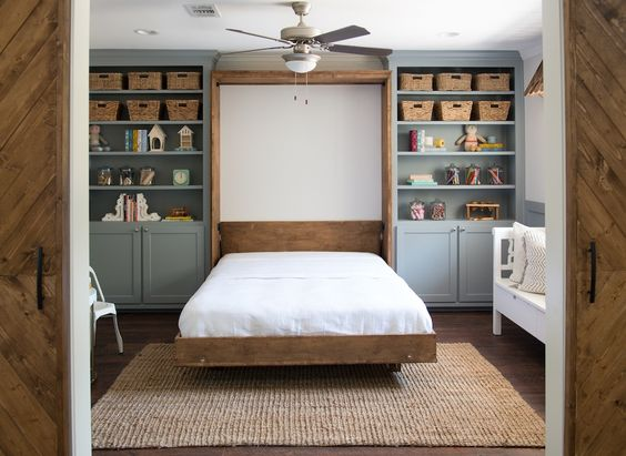 A murphy bed that folds into the wall