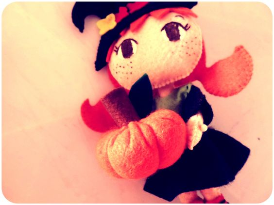 Abóbora de Fuxico para o Halloween